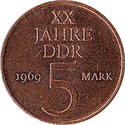 5 Mark (20 Years of GDR - Nickel-bronze) – reverse