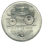 5 Mark (500 Years Mail Services) – reverse