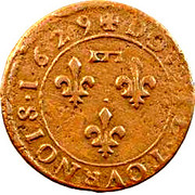 Double Tournois - Gaston d'Orléans (6th type) – reverse