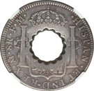 11 Bits (Crenated center hole in Mexico City 8 Reales, KM#109) – reverse