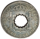 11 Bits (Crenated center hole in Mexico City 8 Reales, KM#106) – reverse