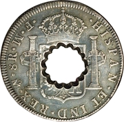 11 Bits (Crenated center hole in Mexico 8 Reales, KM# 106) – reverse