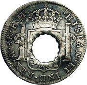 11 Bits (Crenated center hole in Mexico 8 Reales, KM #109) – reverse