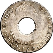 11 Bits (Crenated center hole in Peru 8 Reales, KM# 97) – obverse