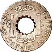 11 Bits (Crenated center hole in Peru 8 Reales, KM# 97) – reverse