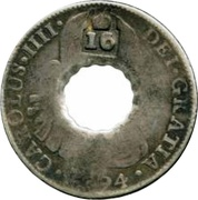 16 Bits (Crenated center hole in Mexico 8 Reales, KM# 109) – obverse