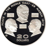 20 Dollars - Elizabeth II (Israel and Egypt Peace Treaty) – reverse