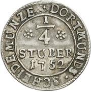 ¼ Stüber (Silver pattern strike) – reverse