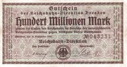 100,000,000 Mark (Reichsbahndirektion) – obverse