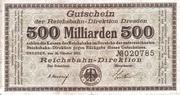 500,000,000,000 Mark (Reichsbahndirektion) – obverse