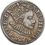 3 Grossus - Sigismund III Vasa (Riga; short beard) – obverse