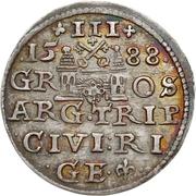 3 Grossus - Sigismund III Vasa (Riga; short beard) – reverse