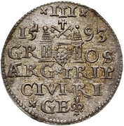 3 Grossus - Sigismund III Vasa (Riga; long and pointed beard) – reverse