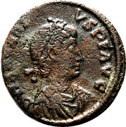 Follis - Arcadius (VIRTVS EXERCITI; Constantinopolis) – obverse