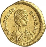 Tremissis - Pulcheria (Cross within wreath; Constantinopolis) – obverse
