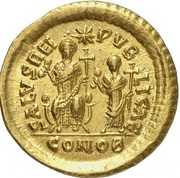 Solidus - Theodosius II (SALVS REIPVBLICAE; Constantinopolis) -  obverse