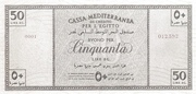 50 Lire (Italian occupation WWII) -  reverse