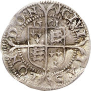 1½ Pence - Elizabeth I (3rd & 4th issue; large flan) – reverse