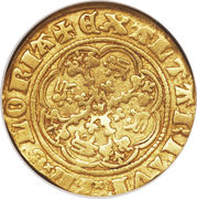 ¼ Noble - Edward III (Treaty coinage; London mint) – reverse