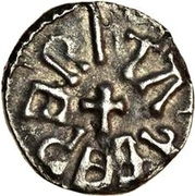 Sceat - Alchred with Abp. Ecgberht – obverse