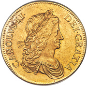 1 Crown - Charles II (1st Bust; Pattern) – obverse