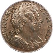 ½ Penny - William & Mary – obverse