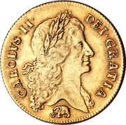 2 Guineas - Charles II (1st bust) – obverse