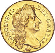 2 Guineas - Charles II (2nd bust) – obverse