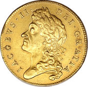 5 Guineas - James II (1st bust) – obverse