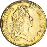 5 Guineas - William III (1st bust) – obverse