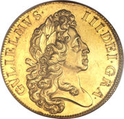 5 Guineas - William III (2nd bust) – obverse