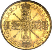 5 Guineas - William III (2nd bust) – reverse