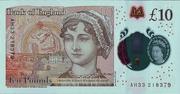 10 Pounds - Elizabeth II (Jane Austen; polymer) – reverse