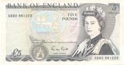 5 Pounds - Elizabeth II (Series D; Duke of Wellington) – obverse