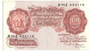 10 Shillings (Series A; Britannia, with thread) -  obverse