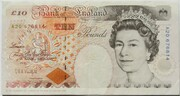 10 Pounds - Elizabeth II (Series E; Charles Dickens, two '£10') – obverse