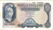 5 Pounds (Series B; Helmeted Britannia, blue) – obverse