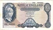 5 Pounds (Series B; Helmeted Britannia, blue) -  obverse
