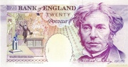 20 Pounds - Elizabeth II (Series E; Michael Faraday, two '£20') – reverse
