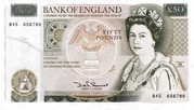 50 Pounds - Elizabeth II (Series D; Sir Christopher Wren) – obverse