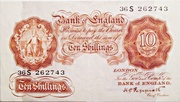 10 Shillings (Series A; Britannia, without thread) – obverse