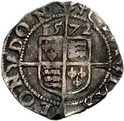 1½ Pence - Elizabeth I (3rd & 4th issue; small flan) – reverse