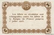 1 Franc - Chambre de Commerce d'Épinal [88] - – reverse