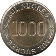 1000 Sucres (70th Anniversary - Central Bank) -  reverse