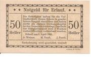 50 Heller (Erlauf - A. Weiner, M. Teufl, J. Fendt) – obverse