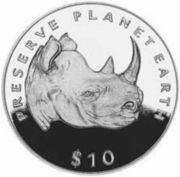 10 Dollars (Black Rhinoceros) – reverse
