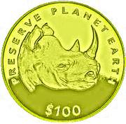 100 Dollars (Black Rhinoceros) – reverse