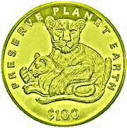 100 Dollars (Lion) – reverse