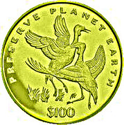 100 Dollars (Wattled Cranes) – reverse
