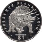 1 Dollar (Triceratops) – reverse
